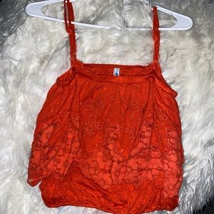 Free People Fire Red Tank Top Spaghetti Strap